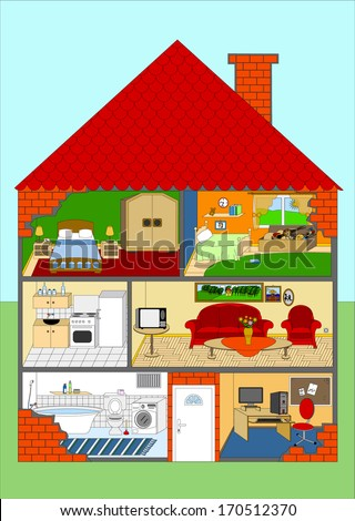 All rooms in the house, rooms of homes, vector art image illustration, background, eps10 - stock vector