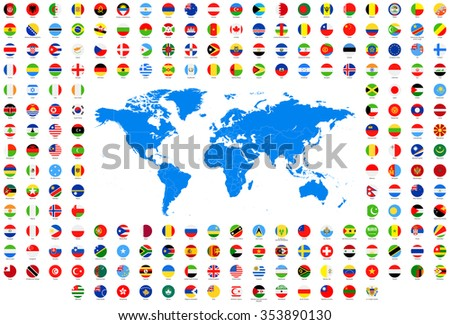 All round flags world map vector collection stock vector 353890130 all round flags and world map vector collection of world flags and map gumiabroncs Images