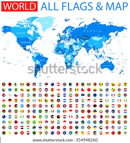 All Round Flags and World Map Vector Collection of World Flags and Map  - stock vector