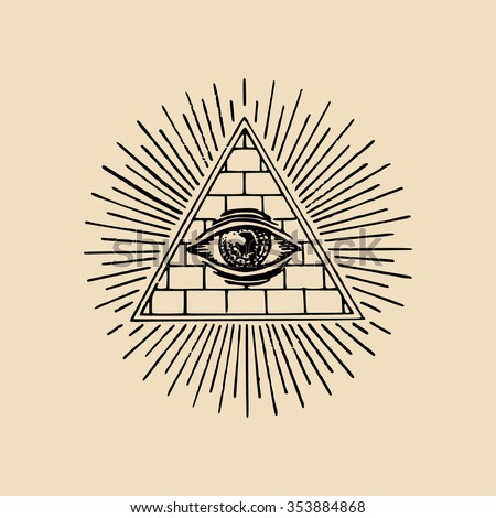 All-seeing eye. Freemasonry pyramid all-seeing eye. Engraving masonic logo emblem. Vector illustration - stock vector