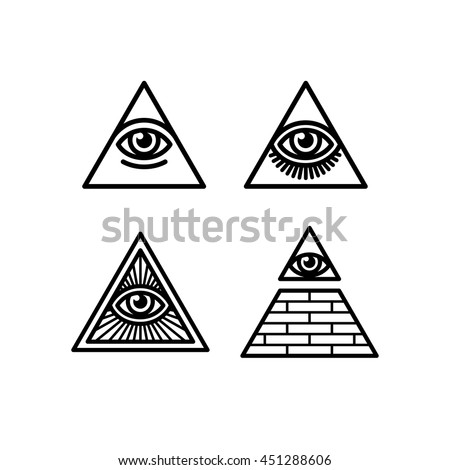 All Seeing Eye Icons Set Illuminati Symbol In A Pyramid Different