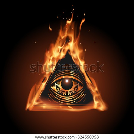 All seeing eye in flame - stock vector