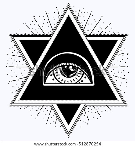 All-seeing eye is on the crossing of two traingles. All seeing eye pyramid symbol. New World Order.Freemason and spiritual, religion, spirituality, alchemy, occultism, tattoo art. Vector illustration.
