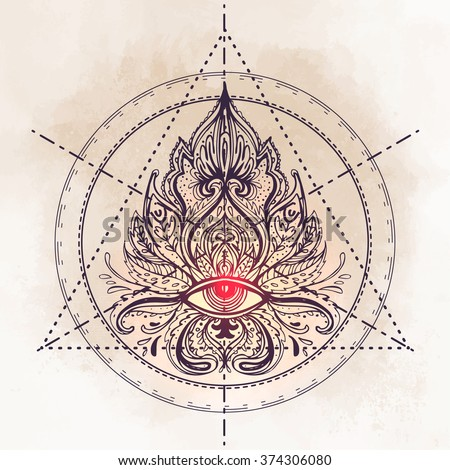 All seeing eye ornate composition. Hand drawn vintage style design element. Alchemy, spirituality, occultism, textiles art. Isolated vector illustration for t-shirt print. Sacred geometry. - stock vector
