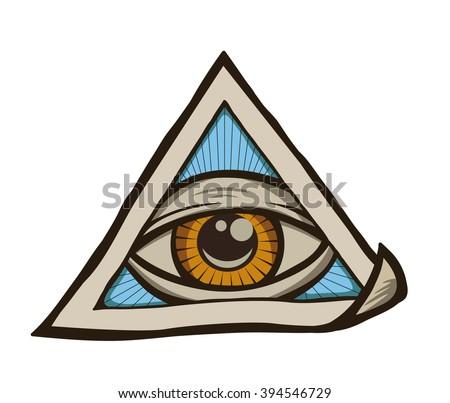 All Seeing Eye Pyramid Symbol Freemason And Spiritual Illuminati Religion Triangle Magic