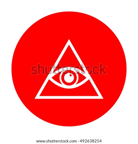 All seeing eye pyramid symbol. Freemason and spiritual. White icon on red circle.