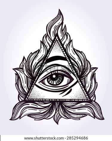 All seeing eye pyramid symbol new world order hand drawn eye of providence