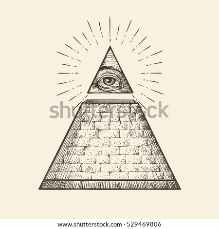 all seeing eye pyramid symbol new stock vector 529469806