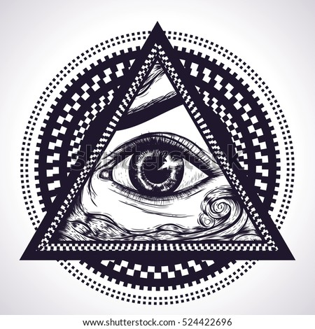 All Seeing Eye Pyramid Symbol With Hypnotic Circles New World OrderEye Of Providence