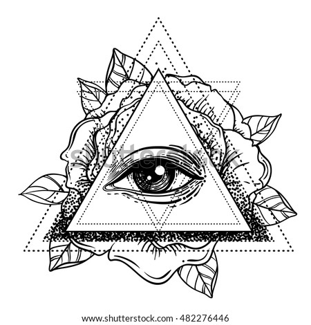 All Seeing Eye Pyramid Symbol With Rose Flower Sacred Geometry Tattoo Flash Vector