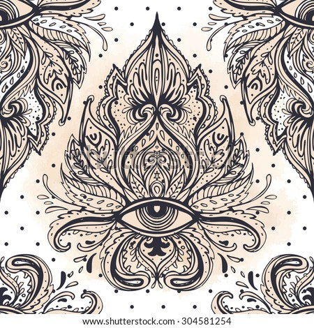 All seeing eye seamless pattern. Hand drawn vintage style pattern. Alchemy, spirituality, occultism, textiles art. Isolated vector illustration. Conspiracy theory. - stock vector