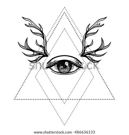 Allseeing Eye Symbol Blackwork Tattoo Design Stock Vector Royalty