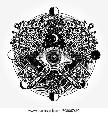 All Seeing Eye Tattoo Occult Art Masonic Magic Key Mystical Esoteric Symbol Of Secret