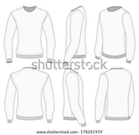 All Six Views Mens White Long Stock Vector 178281959