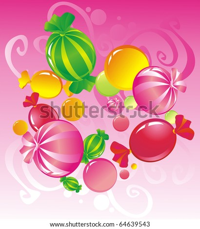 All-sorts from sweets on a pink background
