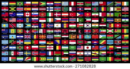 All sovereign states recognized by UN, collection, Flags of the world with Name official RGB coloring and detailed emblems on black background - stock vector