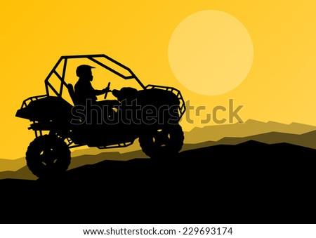 All terrain vehicle quad motorbike dune buggy rider in wild desert nature landscape background illustration vector - stock vector
