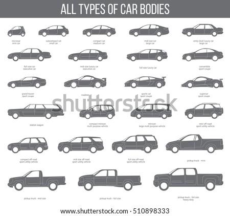 all types of car bodies objects icons set vector black illustration isolated variants of