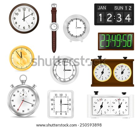 All types of time indication: clocks, watch, stopwatch, flip clock, chess clock, digital clock - vector isolated - stock vector