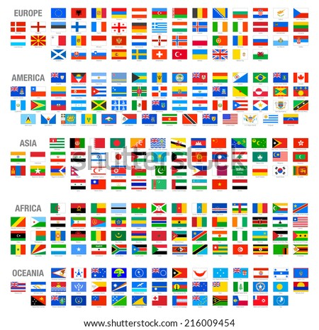 All Vector World Country Flags at High Detail Divided by Continents. All flags are organized by layers with each flag on a single layer properly named.