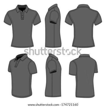 All views men's black short sleeve polo shirt design templates (front, back, half-turned and side views). Vector illustration. No mesh. Redact color very easy - stock vector