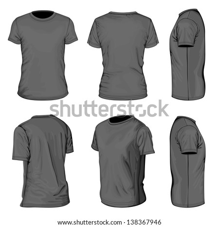 All Views Mens Black Short Sleeve Stock Vector 138367946 ...