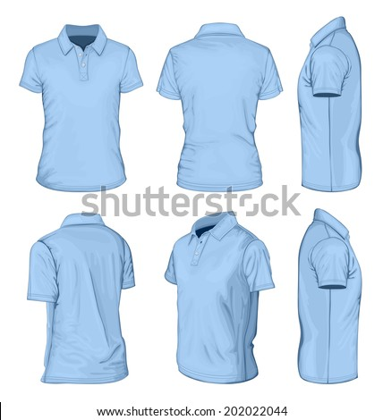 All views men's blue short sleeve polo-shirt design templates (front, back, half-turned and side views). Vector illustration. No mesh. - stock vector