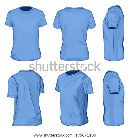All views men's blue short sleeve t-shirt design templates (front, back, half-turned and side views). Vector illustration. No mesh. - stock vector