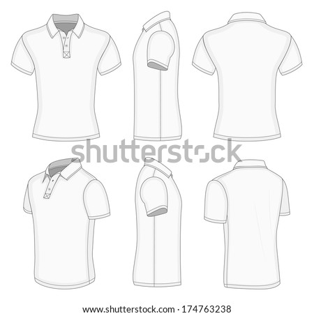 All views men's white short sleeve polo shirt design templates (front, back, half-turned and side views). Vector illustration. No mesh. Redact color very easy! - stock vector