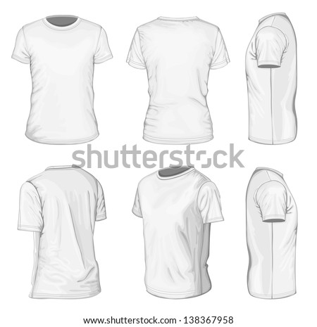 All views men's white short sleeve t-shirt design templates (front, back, half-turned and side views). Vector illustration. No mesh.  - stock vector