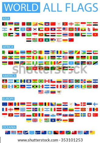 All World Vector Flags - Vector Collection Sorted by Continents