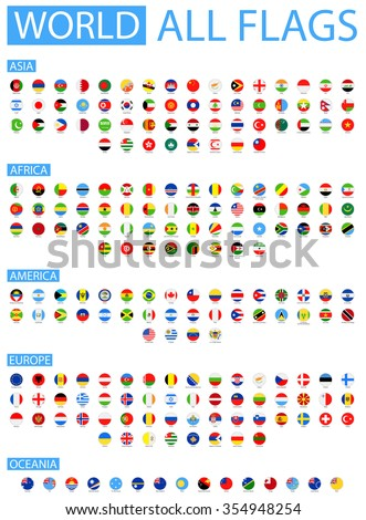 All World Vector Round Flags Vector Collection of Flat Flags  Sorted by Continents  - stock vector