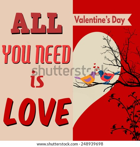 All you need is love poster with cute birds on tree branch, vector illustration