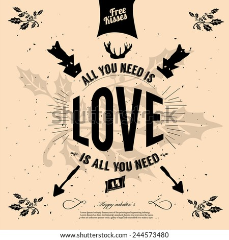 All you need is love retro poster design - stock vector