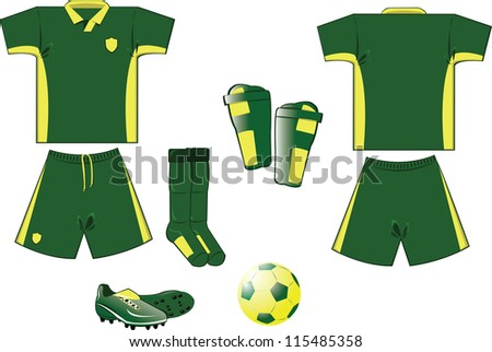 all you need to play soccer game... every object is grouped and you can easily add numbers or names on the shirt! - stock vector