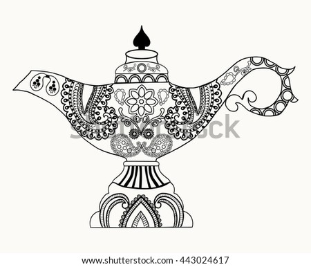 Alladin stock images royalty free images vectors for Genie lamp coloring page