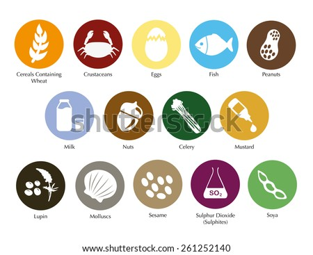 Allergen symbols information vector set - stock vector