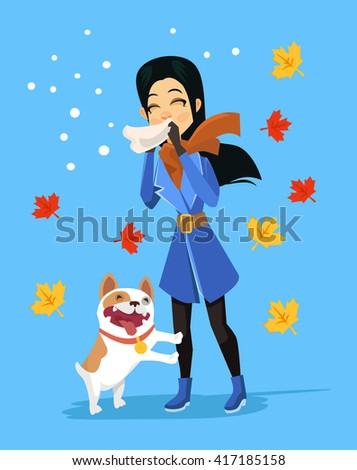 Allergic to pets. Vector flat cartoon illustration - stock vector