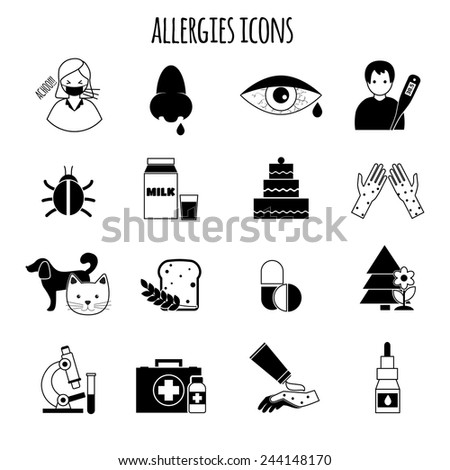 Allergies disease and medicine treatment health icons black vector illustration - stock vector