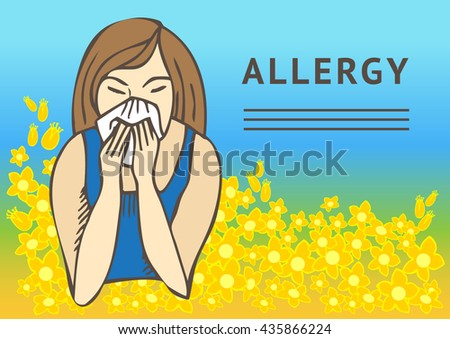 Allergies. Hay fever on blue background and yellow flowers. Template - stock vector