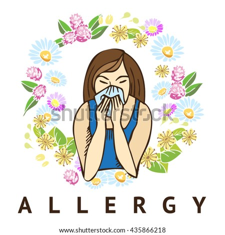 Allergies. Hay fever on white background - stock vector