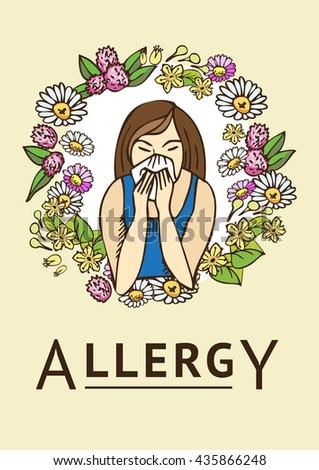 Allergies. Hay fever. Template - stock vector