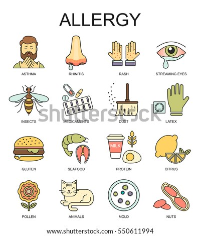 Allergy symptoms vector linear illustration. The most common allergens colored line style icons set.  Medicine and health symbols.