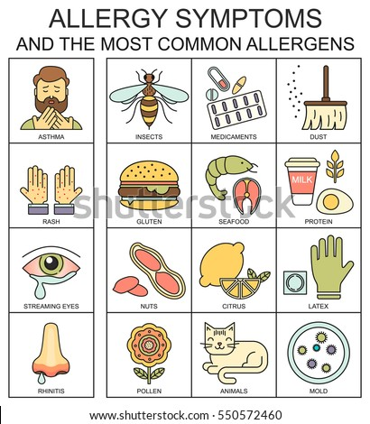Allergy symptoms vector linear illustration. The most common allergens line style icons set. Medical background. Medicine and health pattern.