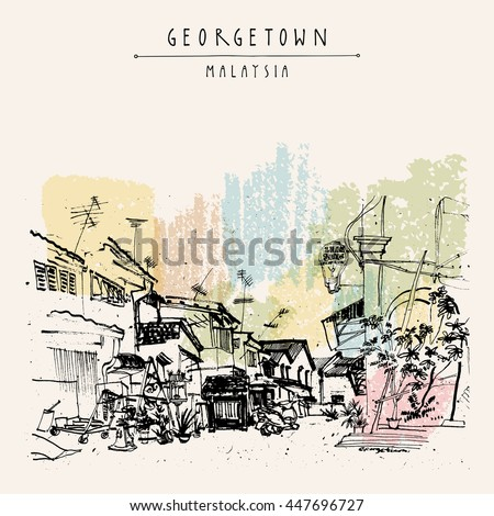 Alley in Georgetown historic colonial center. Malaysia, Southeast Asia. Colonial buildings. Vintage postcard or poster template in vector