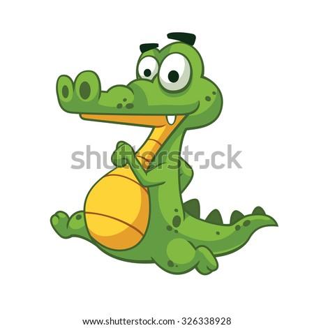Alligator running vector art and illustration. - stock vector
