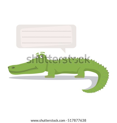 Alligator vector illustration with  speech bubble isolated on a white background.Kids cartoon crocodile cute african animal.