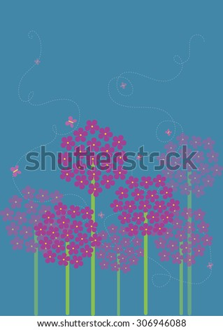 Allium Flowers Landscape Vector - stock vector
