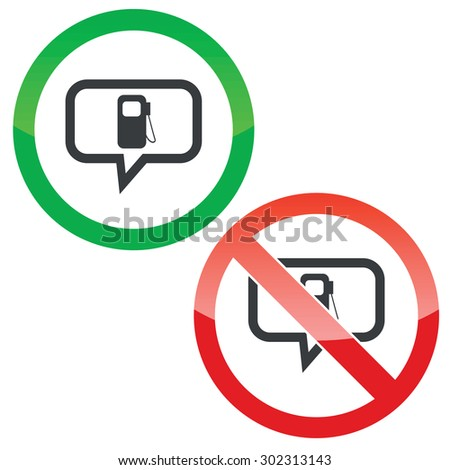 Allowed Forbidden Signs Gas Station Symbol Stock Vector 302313143