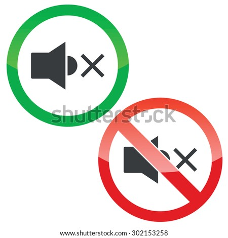 Allowed and forbidden signs with muted loudspeaker image, isolated on white